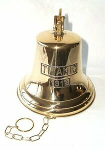 Ship's Bell, Bell, Big Titanic Bell with Chain, Polished Brass Ø 18 CM