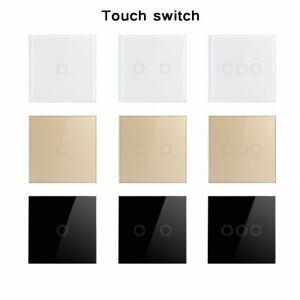 Wall Switch EU UK Light Touch 86x86x34mm 2 Gang 1 Way AC 110V 220V Plastic Panel