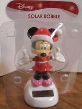 Disney Holiday Christmas Minnie Mouse Solar Bobble Head Table Top Dashboard