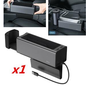 1 Pcs Metal Dual USB Ports Car Seat Gap Storage Box Organizer Drinks Cup Holder