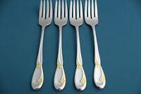 4 Salad Forks Oneida Deluxe GOLDEN CALLA LILY Stainless 6 1/2""