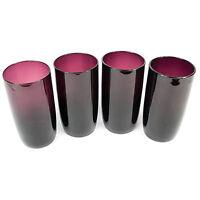 Set Of 4 Purple Hi Ball Glasses 600ml Tall Highball Drinking Water Tumblers Cups