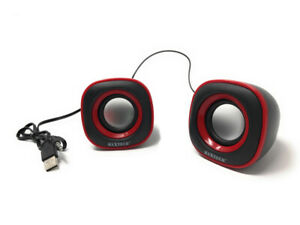Coppia casse speaker wired 10w altoparlanti computer pc attacco usb 2.0 aux