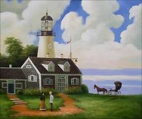 Quality Hand Painted Oil Painting Lighthouse Visitor 20x24in