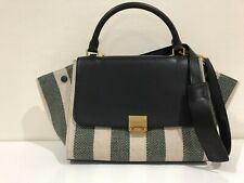 Celine Small Trapeze Bag Cream Green & Blue Canvas & Leather Striped