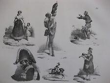 Lithographie ancienne originale Bellangé costumes romantisme soldats musicien