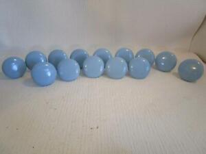 """Lot of 14 Vintage Blue 1.5"""" Porcelain Ceramic Cabinet Drawer Pull Knobs RARE"""