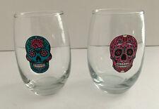 Set of 2 SUGAR SKULL 15-oz Cristar Stemless Wine Glasses PINK and TEAL, NEW