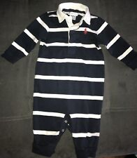 Polo Ralph Lauren Baby Boy Striped Cotton Rugby Coverall Navy White size 6 mo