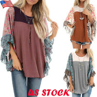 Womens Floral Chiffon Bat Wing Sleeve Sweater Casual Jumper Tops Loose Blouse US