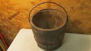 Antique Oak Lead Paint Bucket
