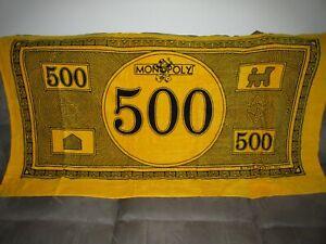 "Brand New Vintage 1999 DEPT 56 MONOPOLY BEACH TOWEL 36"" x 64"" 500 Money RARE"