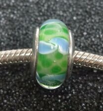 QG Sterling Silver Green and Blue Glass Charm for European Bracelet