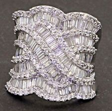 Heavy 14K white gold exquisite 5.0CT diamond cluster cocktail ring size 7.5