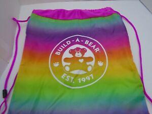 Build A Bear BABW Rainbow Drawstring Cinch Bag Backpack Tote