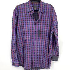 FX Fusion Sportswear mens shirt large button down long sleeve plaid purple NEW