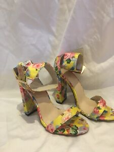 Yellow Satin Heels Floral Size 38 Unbranded Formal Wedding Races