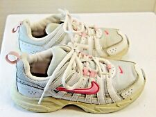 NIKE brand athletic sneakers girls size 2y white and pink color leather +   YL4