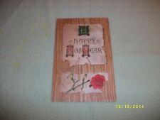 Vintage Postcard New Year's / from 1908, Rose & Mistletoe, Embossed