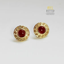 earrings Nails Studs Golden Round Red Agate Engraving Class Retro nn 4