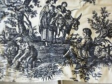 WAVERLY Necktie Window Valance - Black and Ivory 'Country Life' Toile Print