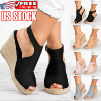 Womens Platform Wedge Heels Sandals Ladies Buckle Summer Espadrilles Shoes Size