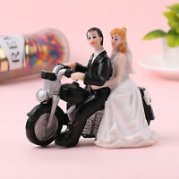 AU_ Cute Cake Topper Bride Groom on Motorcycle Resin Figurine Wedding Ornament