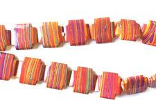 Calsilica Rainbow Semi Precious Stone Man-made Dyed 25mm Cross Bead Q1 Strand