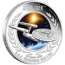 2015 USS Enterprise NCC-1701 1oz Silver Proof Star Trek Coin First In The Series