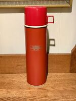 """Vintage Large King Seeley Thermos Red W/ Cup Lid Hot & Cold 13.5"""" Tall"""