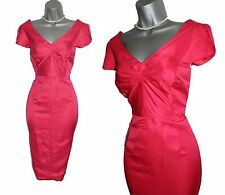 MONSOON Red Coral Cap Sleeve Tailored Formal Cocktail Party Dress UK 10  EU 38
