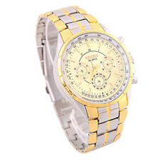 Fashion Luxury Watch Date Gold Dial Steel Analog Quartz Men's Wrist Watches