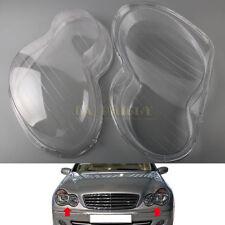 Pair Headlight Headlamp Clear Lens Cover For Mercedes Benz W203 C-Class 01-07