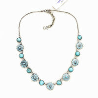 NWT $45 Lucky Brand Silver Tone Multi Turquoise Blossom Collar Choker Necklace