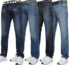 Mens Crosshatch Straight Leg Dark Blue Jeans All Waist Sizes 5 Colours Techno D/w W40- L30