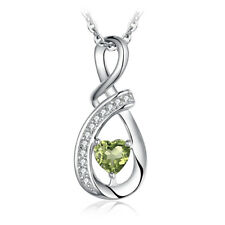 JewelryPalace Infinity Heart Cut Genuine Peridot Pendant 925 Sterling Silver