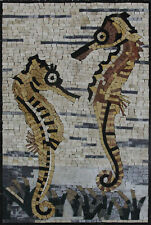 "SEAHORSE TILE Art 16""x24"" Mosaic Home Decor AN199"