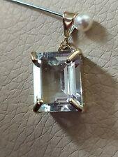 ❤️ Natural 5ct emerald octagon cut aquamarine solid 9ct yellow gold pendant