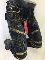 Mens Jean VICTORIOUS SKINNY Leg DESTROYED BLUE GOLD PAINT BIKER ROCKER 1034 NWT