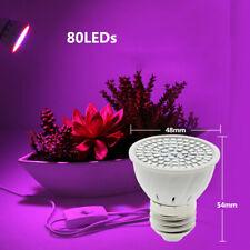 2x Lampadina E27 luce pianta lampada acquario idroponica coltivazione 80 LED