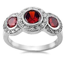 USA Seller Three-Stone Garnet Ring Sterling Silver 925 Best Deal Jewelry Size 9