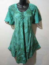 Top Fits XL 1X One Size Tunic Green Brown Floral Lace Sleeve A Shaped NWT G788-R