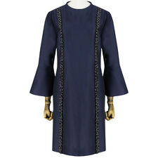 Stella McCartney Midnight Blue Flared Sleeve Resin Beaded Shift Dress IT44 UK12