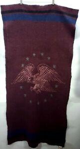 Vintage Woolrich American Eagle Burgundy Throw Blanket Wool Blend 33 x 63