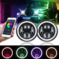"7"" Bluetooth Halo Headlight APP Control Color Changing RGB for Jeep Wrangler"