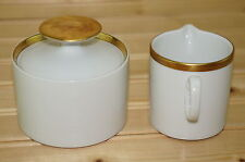 "Thomas ""Gold Band"" 701 Creamer, 2 3/4"" & Sugar Bowl, 2 3/8"" with Lid"
