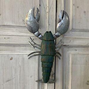 Leonard The Lobster Teal Wall Art Figure Rustic Wood Metal Rustic Driftwood Crab