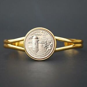 2009 Puerto Rico State Quarter Gold Plated Cuff Bracelet - DC & US Territories