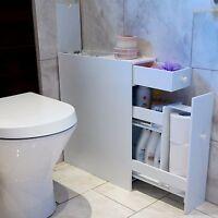 SLIMLINE BATHROOM ORGANISER WHITE WOODEN CUPBOARD CABINET SLIDING STORAGE WHITE
