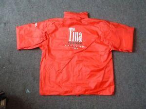 """TINA TURNER"" Red X L Waterproof site jacket with concealed hood."